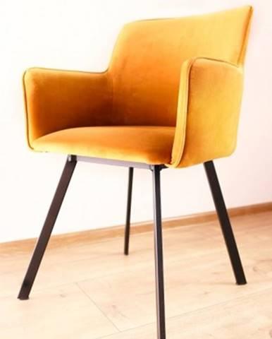 Jedálenská stolička Vian horčicová, čierna