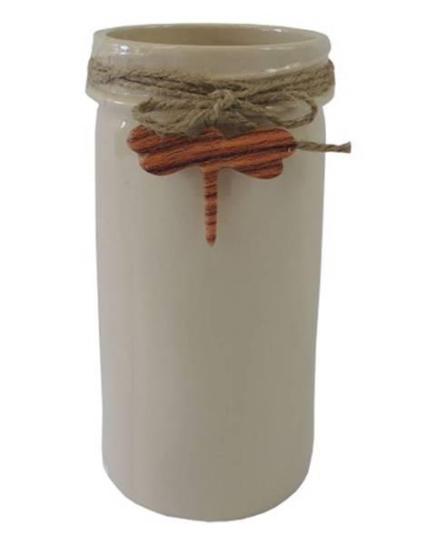 OKAY nábytok Keramická váza VK41 béžová s vážkou
