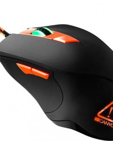 Drôtová myš Canyon CND-SGMO3RGB, herná, podsvietená, čierna