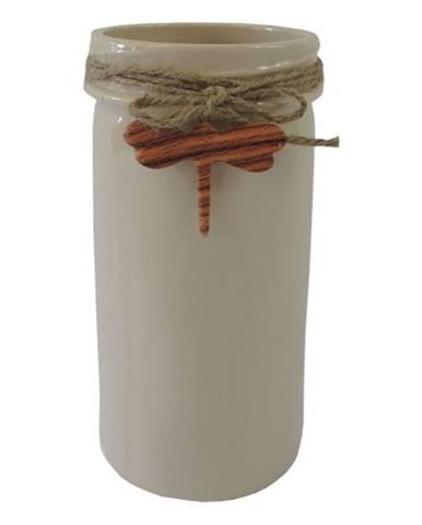 Keramická váza VK41 béžová s vážkou
