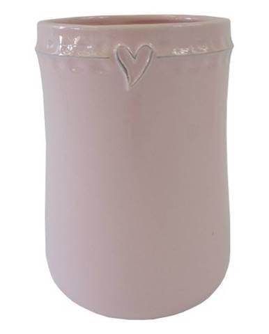 Keramická váza VK46 ružová so srdiečkom