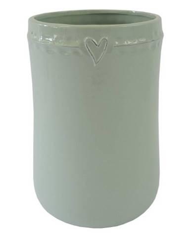 Keramická váza VK48 mätová so srdiečkom