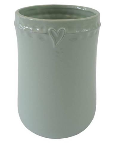 Keramická váza VK49 mätová so srdiečkom