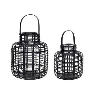Súprava 2 čiernych bambusových lampášov Hübsch Bamboo