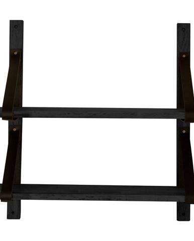 Čierna polička z dubového dreva Canett Uno