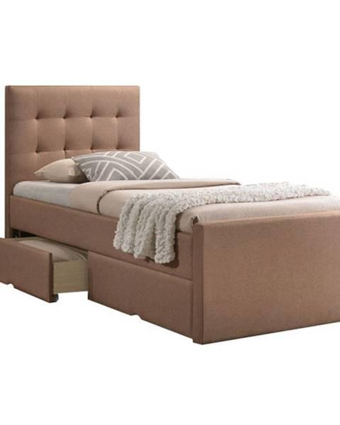 Tempo Kondela Moderná posteľ svetlohnedá 90x200 VISKA NEW