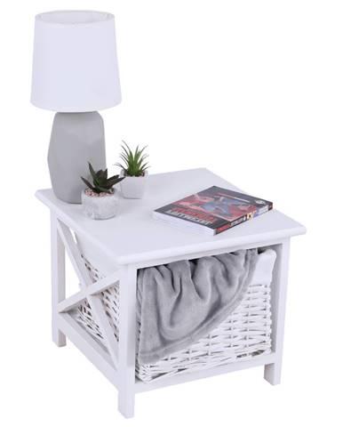 Nočný stolík drevo/prútie/látka biela RAFAELLO