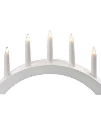 LED dekorace  Emos Svícen na 5× žárovičku E10 dřevěný bílý, oblouk,