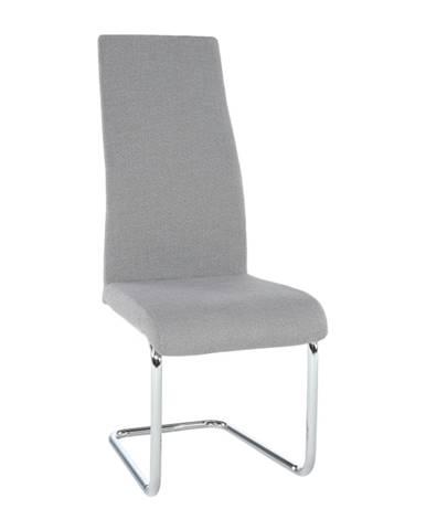 Jedálenská stolička látka svetlosivá/chróm AMINA poškodený tovar