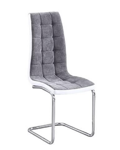 Jedálenská stolička tmavosivá/ekokoža biela/chróm SALOMA NEW poškodený tovar
