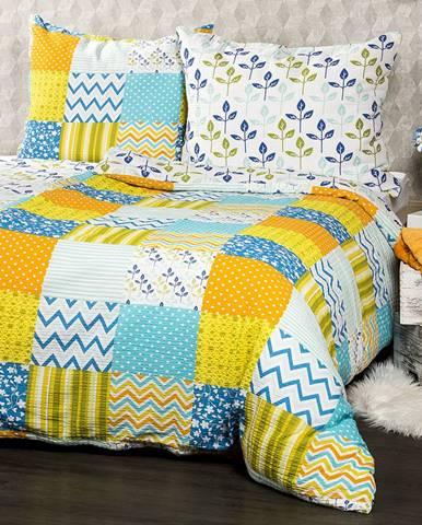 4Home Krepové obliečky Patchwork blue, 140 x 200 cm, 70 x 90 cm