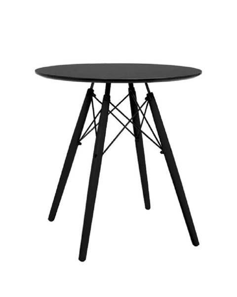 Kondela Okrúhly jedálenský stôl čierna MONTY poškodený tovar