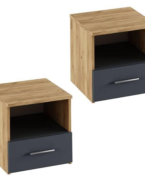 Kondela Nočný stolík 2 ks dub artisan/grafit GABRIELA