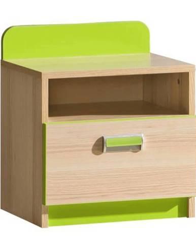 Nočný stolík jaseň/zelený EGO L12