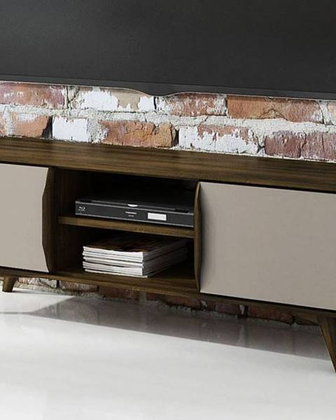 Bighome.sk SKANE TV stolík 134x48 cm, dub, tmavohnedá