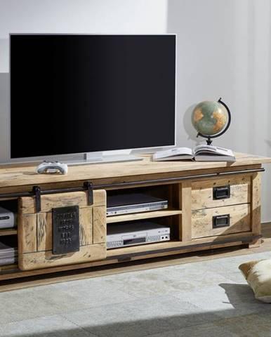IRON II. TV stolík 180x55 cm, mango, prírodná