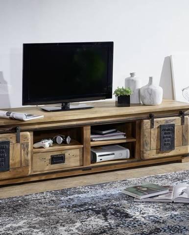 IRON II. TV stolík 200x55 cm, mango, prírodná