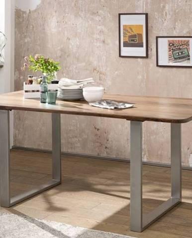ROUND Jedálenský stôl kovové nohy 160x90 cm, hnedá, palisander