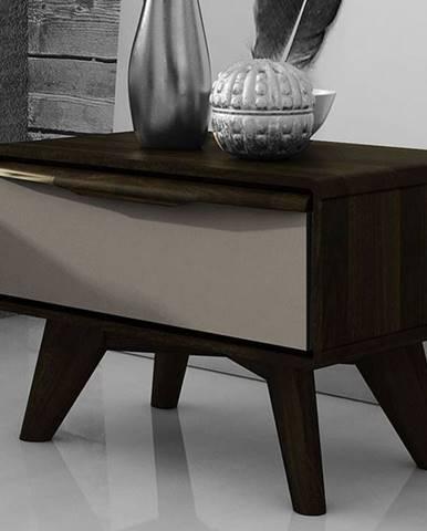 SKANE Nočný stolík I. 30x47 cm, dub, tmavohnedá