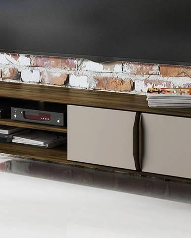 SKANE TV stolík I. 180x48 cm, dub, tmavohnedá