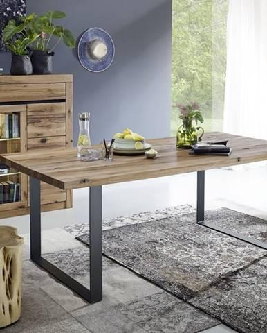 VEVEY Jedálenský stôl 160x90 cm, tmavohnedá, dub