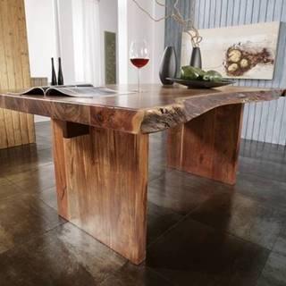 METALL Jedálenský stôl 210x110 cm, akácia