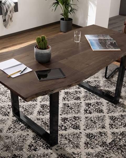 Bighome.sk METALL Jedálenský stôl s antracitovými nohami (lesklé) 120x90, akácia, sivá