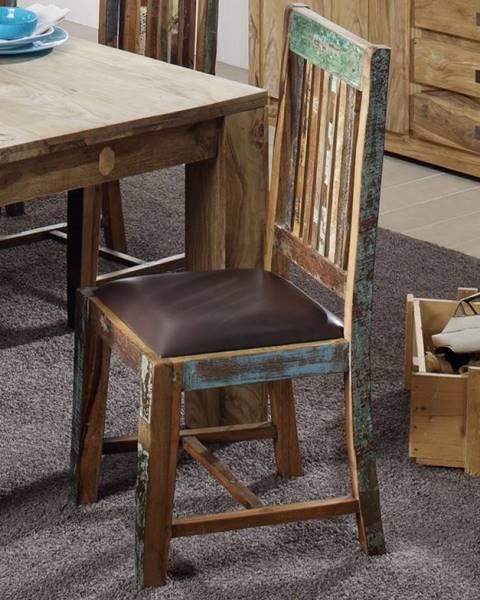 Bighome.sk OLDTIME Jedálenská stolička čalúnené sedadlo, staré drevo