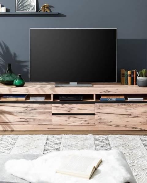 Bighome.sk VEVEY TV stolík 220x55 cm, svetlohnedá, dub