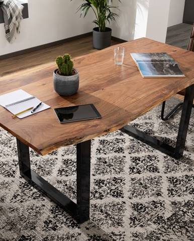 METALL Jedálenský stôl s antacitovými nohami (lesklé) 120x90, akácia, prírodná
