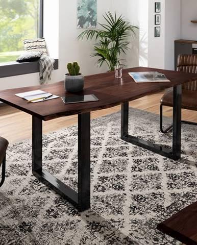 METALL Jedálenský stôl s antracitovými nohami (lesklé) 160x90, akácia, hnedá