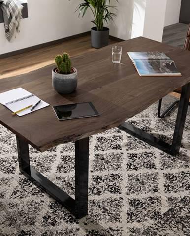 METALL Jedálenský stôl s antracitovými nohami (lesklé) 160x90, akácia, sivá