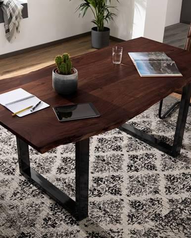METALL Jedálenský stôl s antracitovými nohami (lesklé) 200x100, akácia, hnedá