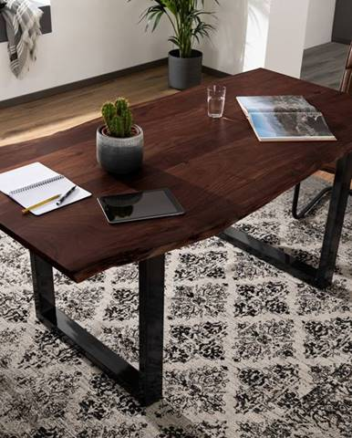 METALL Jedálenský stôl s antracitovými nohami (lesklé) 220x100, akácia, hnedá