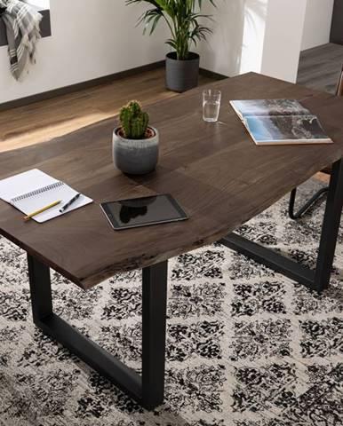METALL Jedálenský stôl s antracitovými nohami (matné) 160x90, akácia, sivá