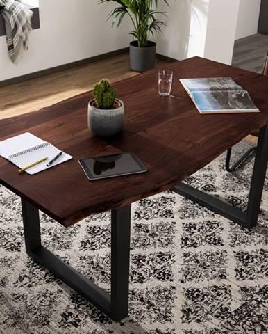METALL Jedálenský stôl s antracitovými nohami (matné) 180x90, akácia, hnedá