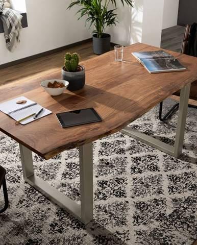 METALL Jedálenský stôl so striebornými nohami 180x90, akácia, prírodná
