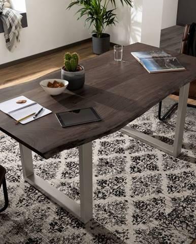 METALL Jedálenský stôl so striebornými nohami 180x90, akácia, sivá
