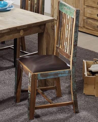 OLDTIME Jedálenská stolička čalúnené sedadlo, staré drevo