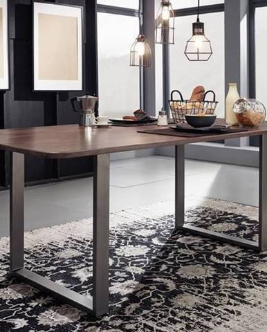 ROUND Jedálenský stôl kovové nohy 160x90 cm, dymová, palisander