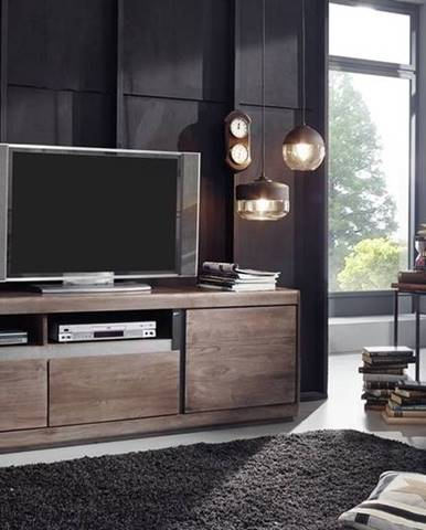 ROUND TV stolík so šuplíkmi 180x60 cm, dymová, palisander