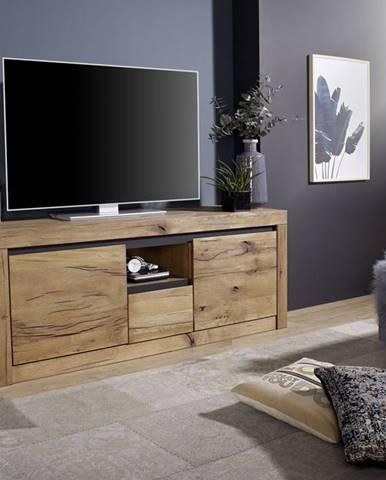 VEVEY TV stolík 155x60 cm, tmavohnedá, dub