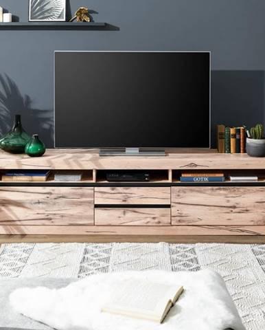 VEVEY TV stolík 220x55 cm, svetlohnedá, dub