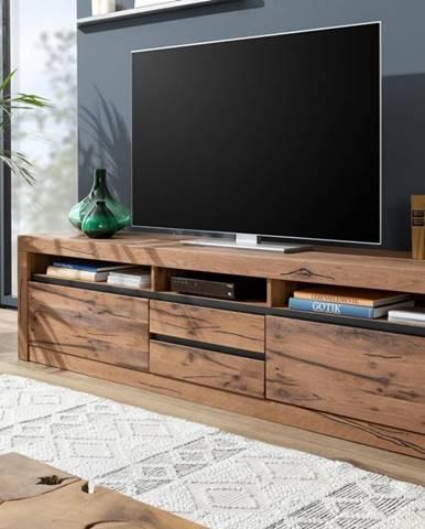VEVEY TV stolík 220x55 cm, tmavohnedá, dub