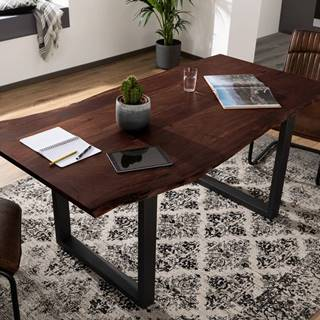 METALL Jedálenský stôl s antracitovými nohami (matná) 160x90, akácia, hnedá