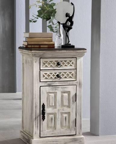 ANTIK Nočný stolík 2 šuplíky 45x40 cm, mango a akácia
