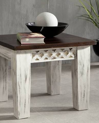 ANTIK Príručný stolík 55x55 cm, mango a akácia
