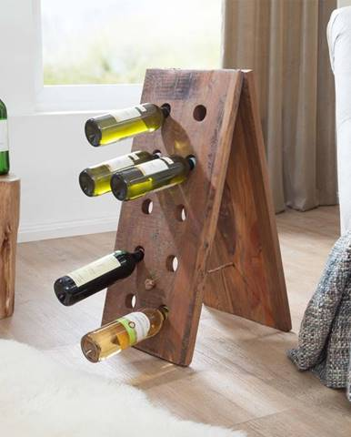 OLDTIME Regál na víno 35x70 cm, staré drevo