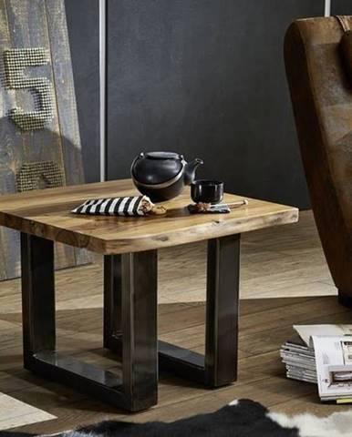 ROUND Konferenčný stolík METALL 60x60 cm, hnedá, palisander