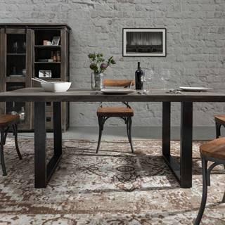 IRON Jedálenský stôl 180x90 cm, mango, sivá